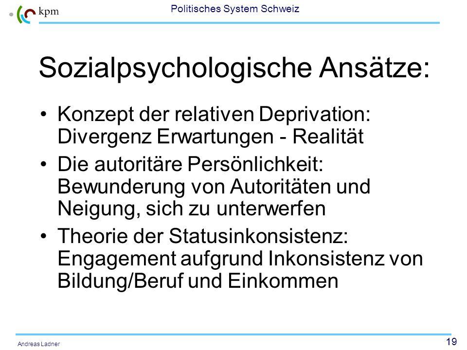 18 Politisches System Schweiz Andreas Ladner Erklärungsansätze für die Entstehung von sozialen Bewegungen Sozialpsychologische Ansätze Strukturfunktio