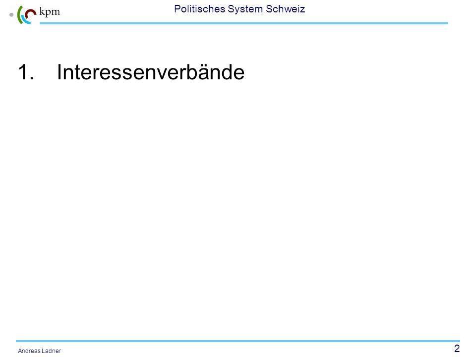 22 Politisches System Schweiz Andreas Ladner Ressourcen-Mobilisierungsansatz Unterschiede zu anderen Ansätzen 1.Am Anfang eines Mobilisierungsprozesses stehen nicht Unzufriedenheit und soziale Desintegration.