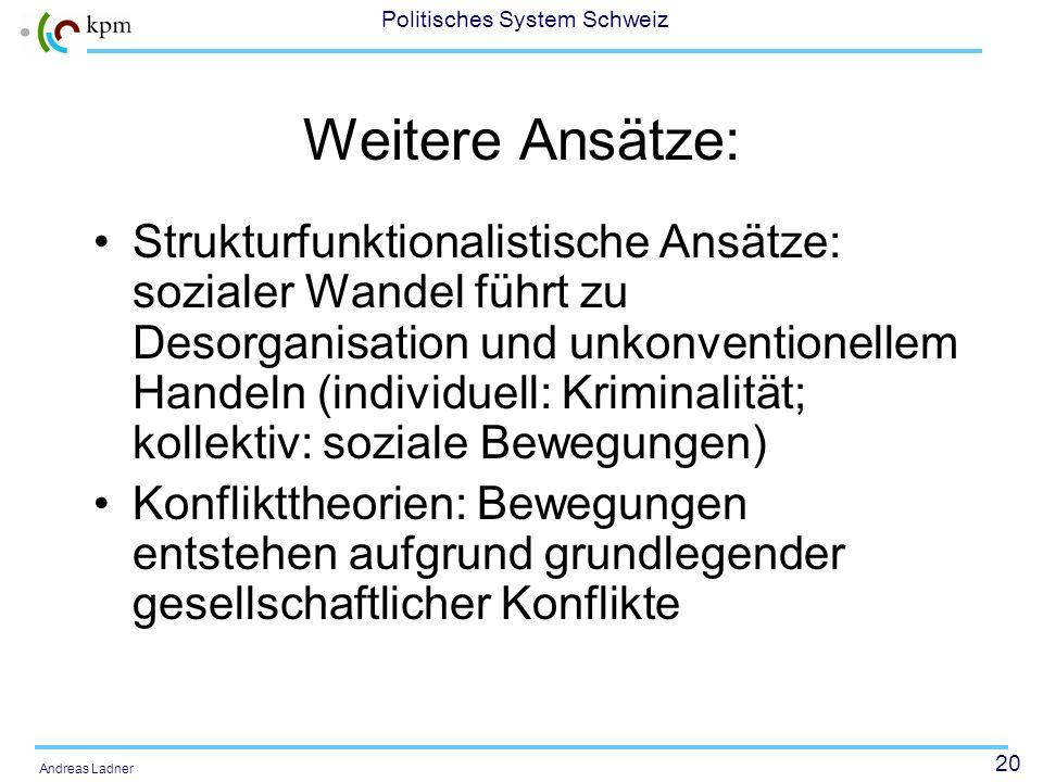 19 Politisches System Schweiz Andreas Ladner Sozialpsychologische Ansätze: Konzept der relativen Deprivation: Divergenz Erwartungen - Realität Die aut