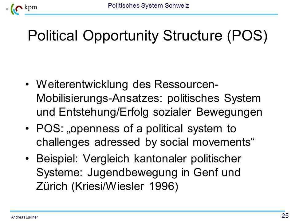 24 Politisches System Schweiz Andreas Ladner Das erweiterte RM-Modell (Kriesi)