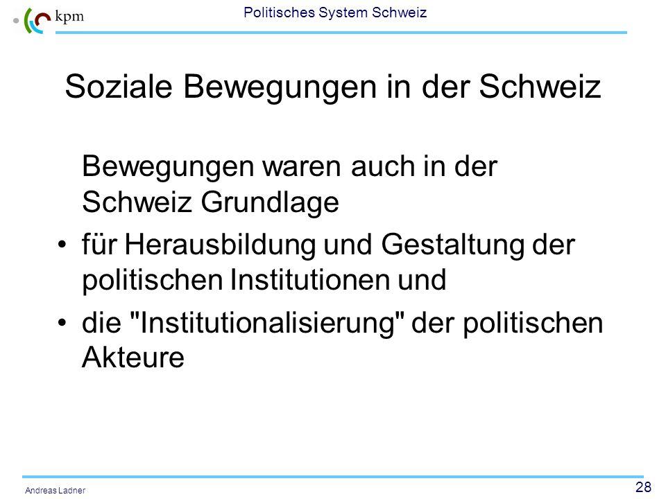 27 Politisches System Schweiz Andreas Ladner Verhältnis Partei - Bewegung AUNS und SVP Unterschiedliche Analyse möglich: –Schöpfquell-Modell: AUNS als