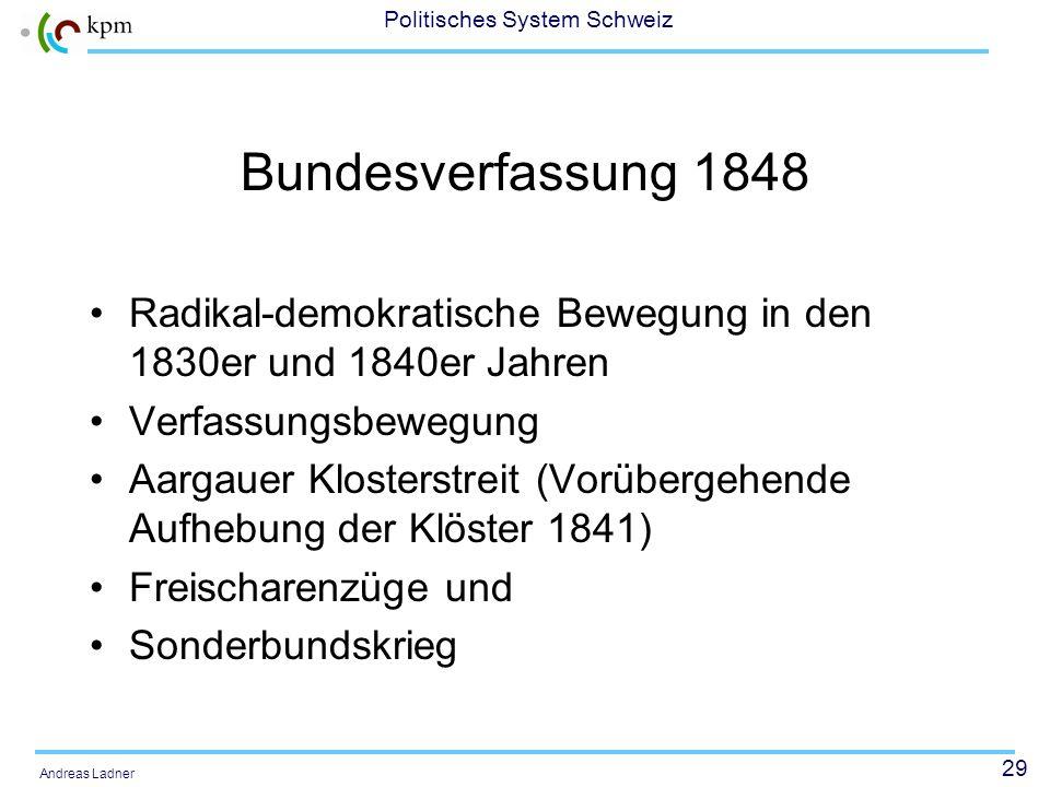 28 Politisches System Schweiz Andreas Ladner Soziale Bewegungen in der Schweiz Bewegungen waren auch in der Schweiz Grundlage für Herausbildung und Ge