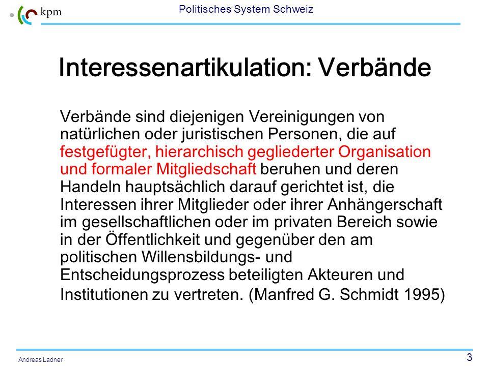 23 Politisches System Schweiz Andreas Ladner Mobilisierungsmodell von Tilly (1978) 1.Mobilisierungsmodell im engeren Sinn, welches die mobilisierende Bevölkerungsgruppe betrachtet 2.Ein Modell im erweiterten Sinn, welches auch die Interaktionspartner berücksichtigt.