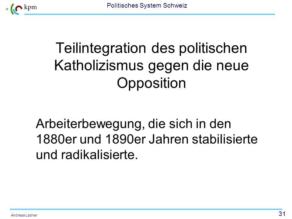 30 Politisches System Schweiz Andreas Ladner Partialrevision der Bundesverfassung 1874 (Einführung Referendum) Verfassungskämpfe im Kontext des Kultur