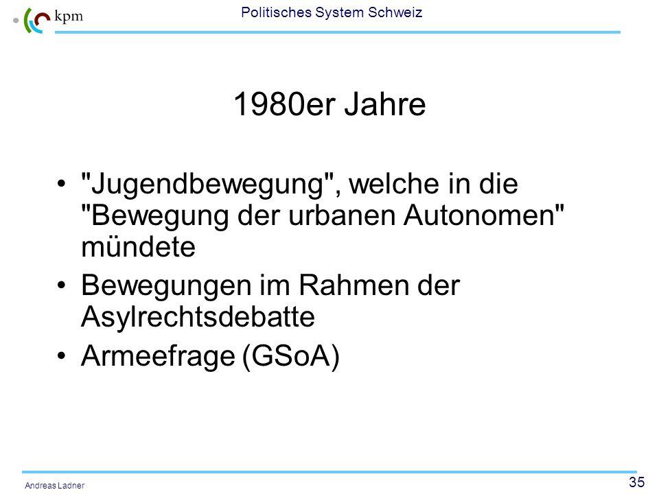 34 Politisches System Schweiz Andreas Ladner 1960er und 1970er Jahre: Hochkonjunktur
