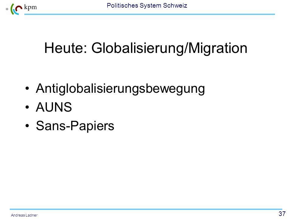 36 Politisches System Schweiz Andreas Ladner Ende 1980er/1990er Jahre: Integrationsfragen