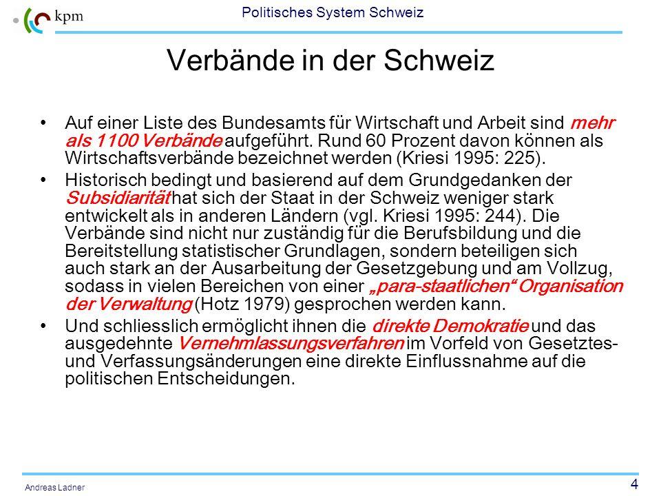 4 Politisches System Schweiz Andreas Ladner Verbände in der Schweiz Auf einer Liste des Bundesamts für Wirtschaft und Arbeit sind mehr als 1100 Verbände aufgeführt.