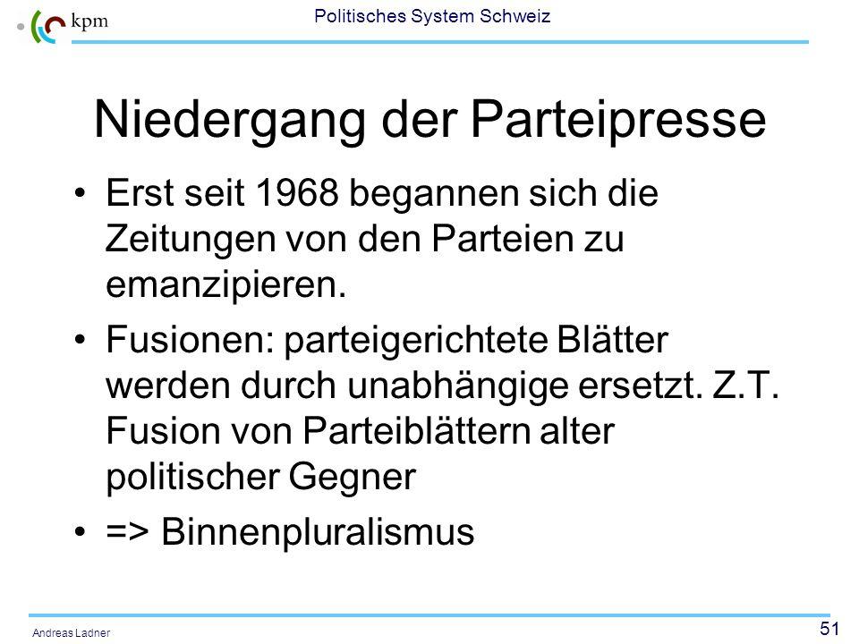 50 Politisches System Schweiz Andreas Ladner Viele Parteizeitungen Mitte der 1960er Jahre 370 politische Zeitungen nur 237 offizielle Organe von Parte
