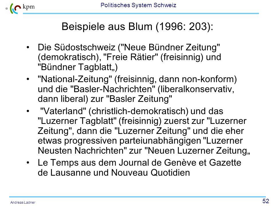 51 Politisches System Schweiz Andreas Ladner Niedergang der Parteipresse Erst seit 1968 begannen sich die Zeitungen von den Parteien zu emanzipieren.
