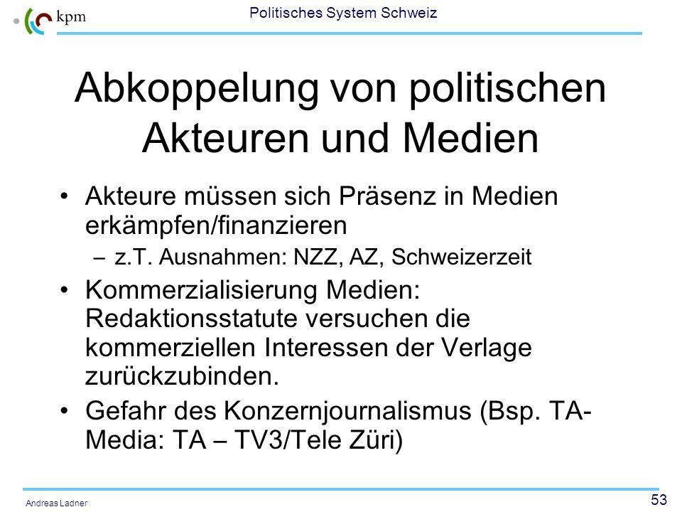 52 Politisches System Schweiz Andreas Ladner Beispiele aus Blum (1996: 203): Die Südostschweiz (