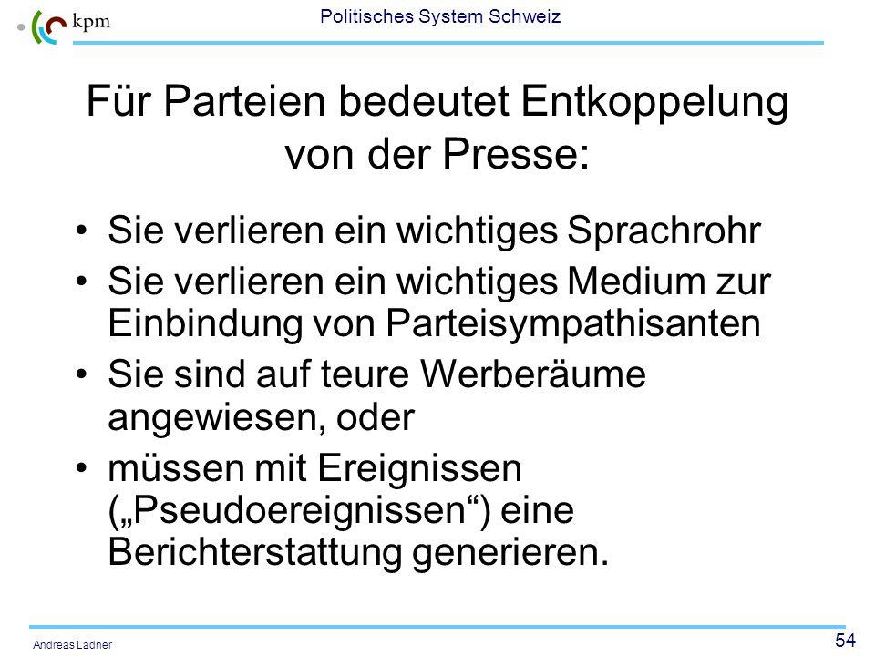 53 Politisches System Schweiz Andreas Ladner Abkoppelung von politischen Akteuren und Medien Akteure müssen sich Präsenz in Medien erkämpfen/finanzier