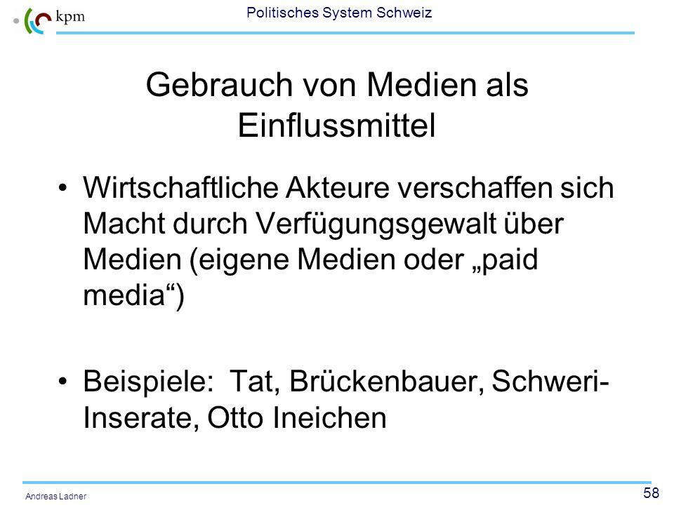 57 Politisches System Schweiz Andreas Ladner Möglichkeiten und Grenzen der Medien: Beispiel Arena 1996: Marktanteil 37 %, Agenda setting, Verhandlungs