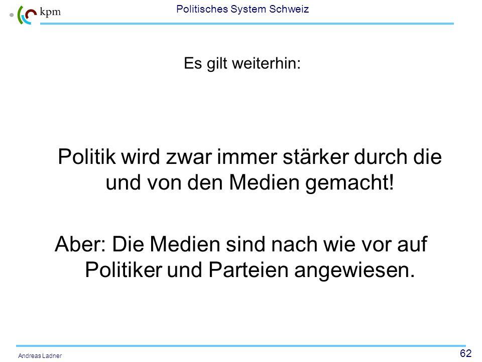 61 Politisches System Schweiz Andreas Ladner Am Politikmarketing kommt heute keine Partei vorbei! Wir sind gut, aber werden nicht zur Kenntnis genomme