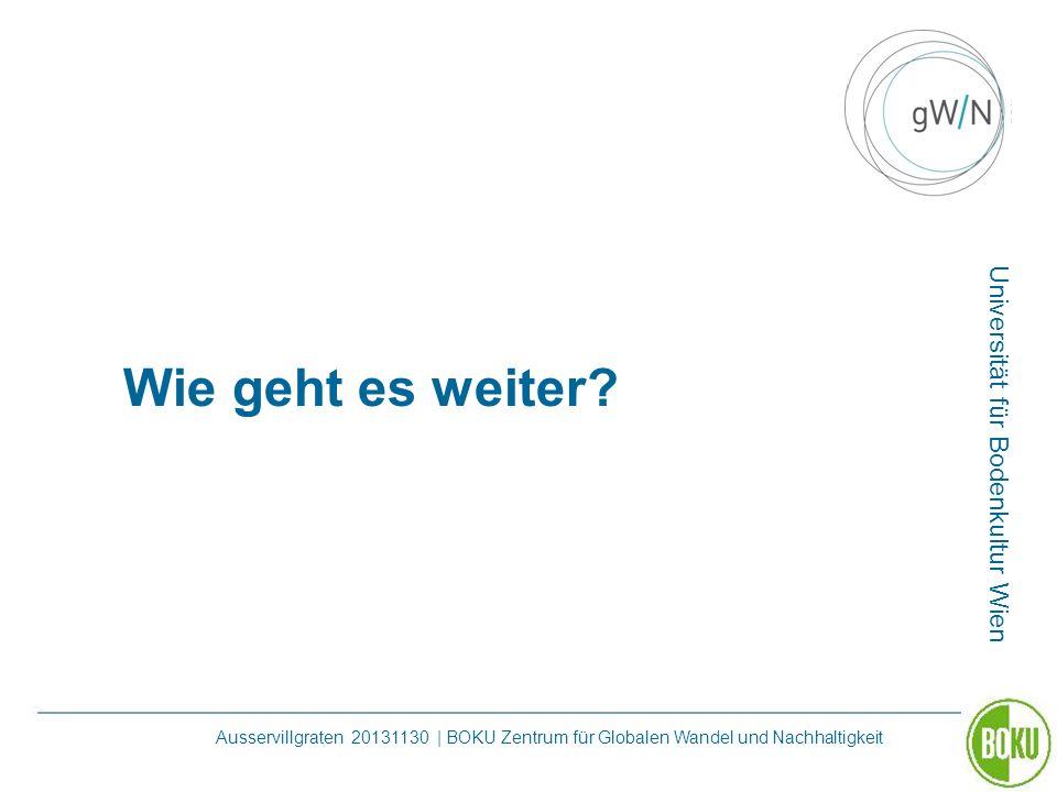 Universität für Bodenkultur Wien Ausservillgraten 20131130 | BOKU Zentrum für Globalen Wandel und Nachhaltigkeit Wie geht es weiter?
