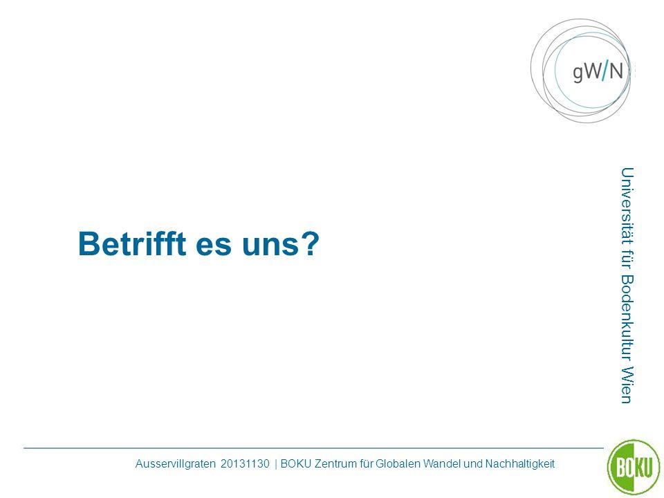 Universität für Bodenkultur Wien Ausservillgraten 20131130 | BOKU Zentrum für Globalen Wandel und Nachhaltigkeit Betrifft es uns?