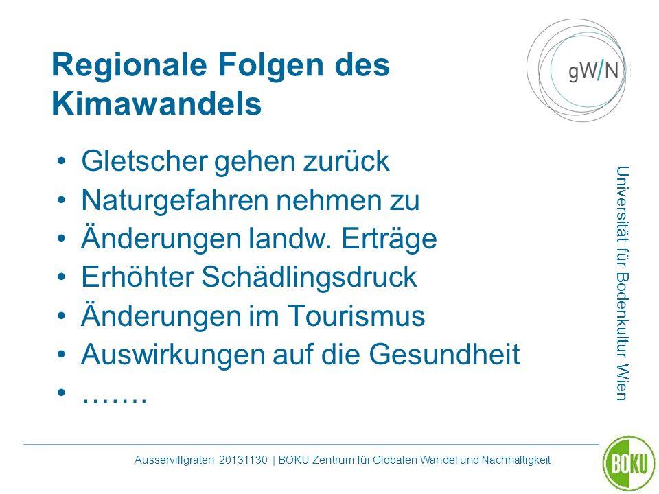 Universität für Bodenkultur Wien Ausservillgraten 20131130 | BOKU Zentrum für Globalen Wandel und Nachhaltigkeit Regionale Folgen des Kimawandels Glet