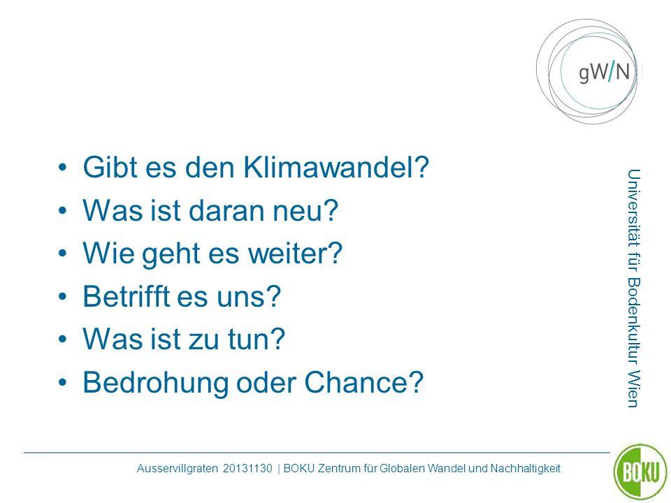 Universität für Bodenkultur Wien Ausservillgraten 20131130 | BOKU Zentrum für Globalen Wandel und Nachhaltigkeit Gibt es den Klimawandel? Was ist dara