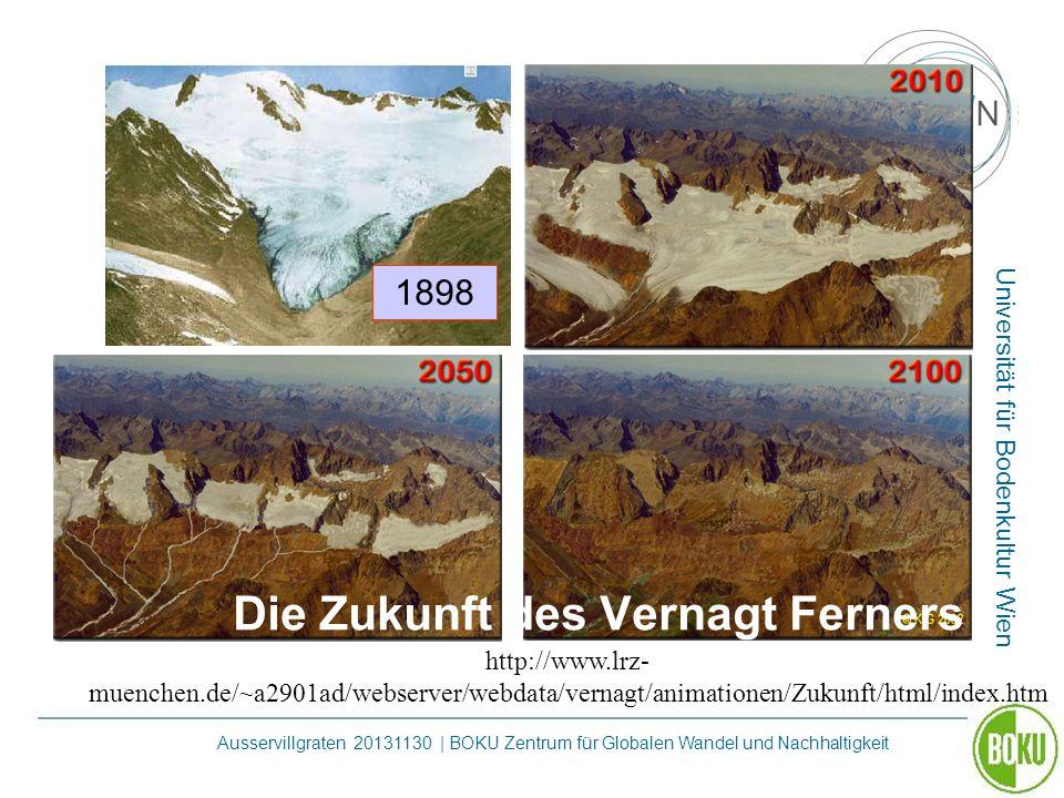 Universität für Bodenkultur Wien Ausservillgraten 20131130 | BOKU Zentrum für Globalen Wandel und Nachhaltigkeit Die Zukunft des Vernagt Ferners http:
