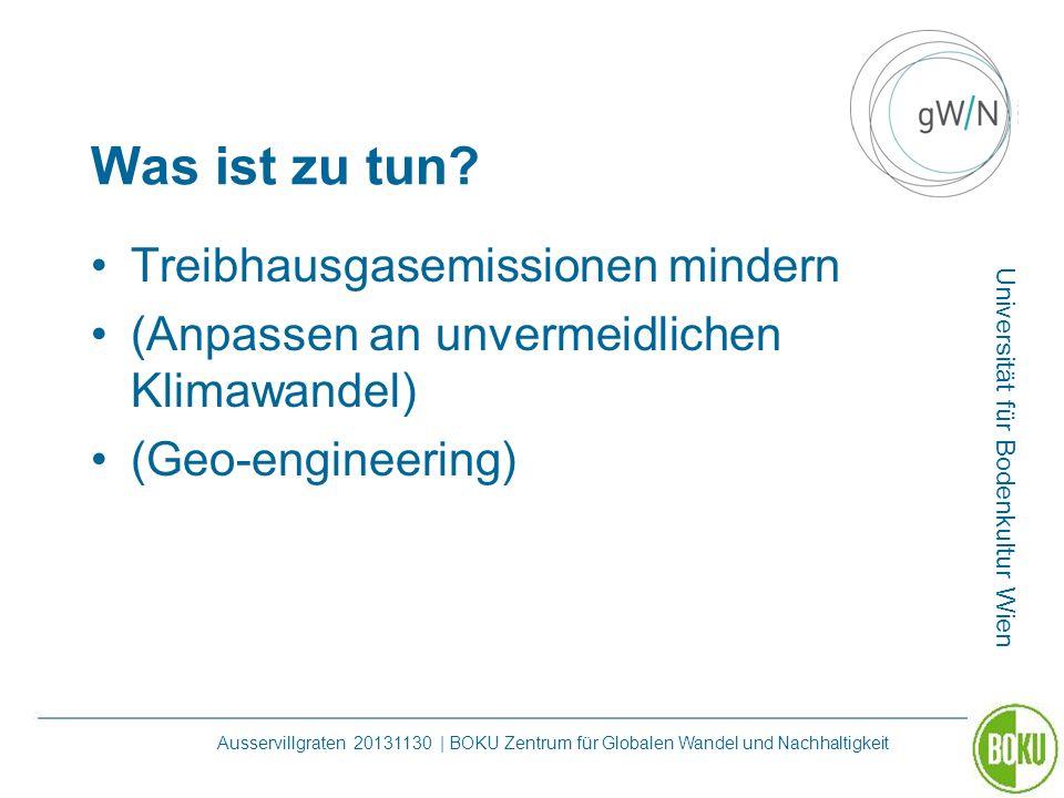 Universität für Bodenkultur Wien Ausservillgraten 20131130 | BOKU Zentrum für Globalen Wandel und Nachhaltigkeit Was ist zu tun? Treibhausgasemissione