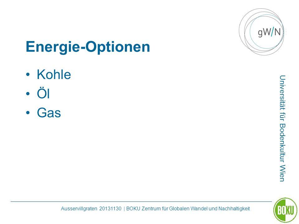 Universität für Bodenkultur Wien Ausservillgraten 20131130 | BOKU Zentrum für Globalen Wandel und Nachhaltigkeit Energie-Optionen Kohle Öl Gas