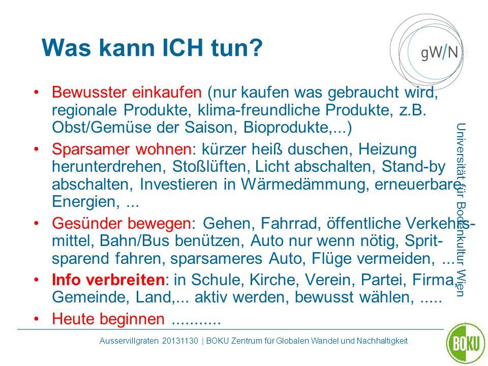 Universität für Bodenkultur Wien Ausservillgraten 20131130 | BOKU Zentrum für Globalen Wandel und Nachhaltigkeit Was kann ICH tun? Bewusster einkaufen