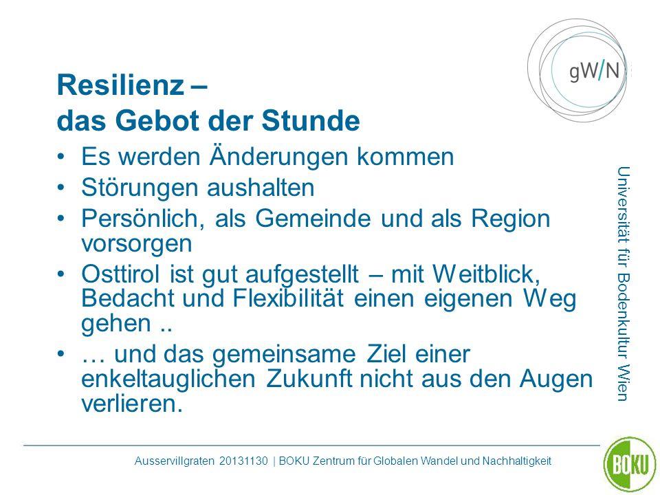 Universität für Bodenkultur Wien Ausservillgraten 20131130 | BOKU Zentrum für Globalen Wandel und Nachhaltigkeit Resilienz – das Gebot der Stunde Es w