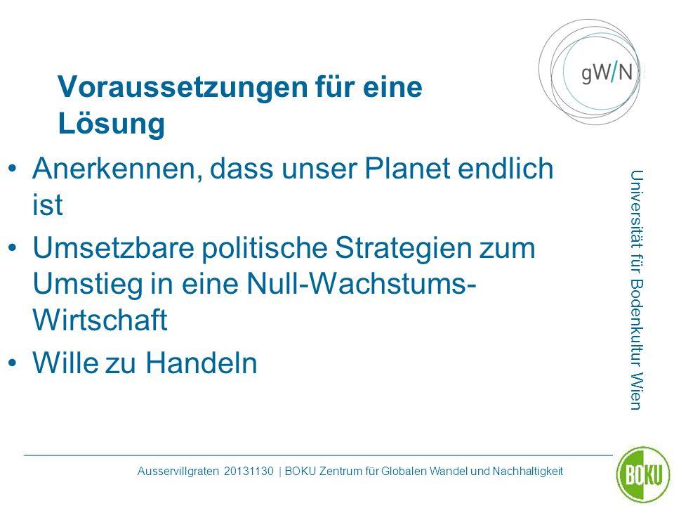 Universität für Bodenkultur Wien Ausservillgraten 20131130 | BOKU Zentrum für Globalen Wandel und Nachhaltigkeit Voraussetzungen für eine Lösung Anerk
