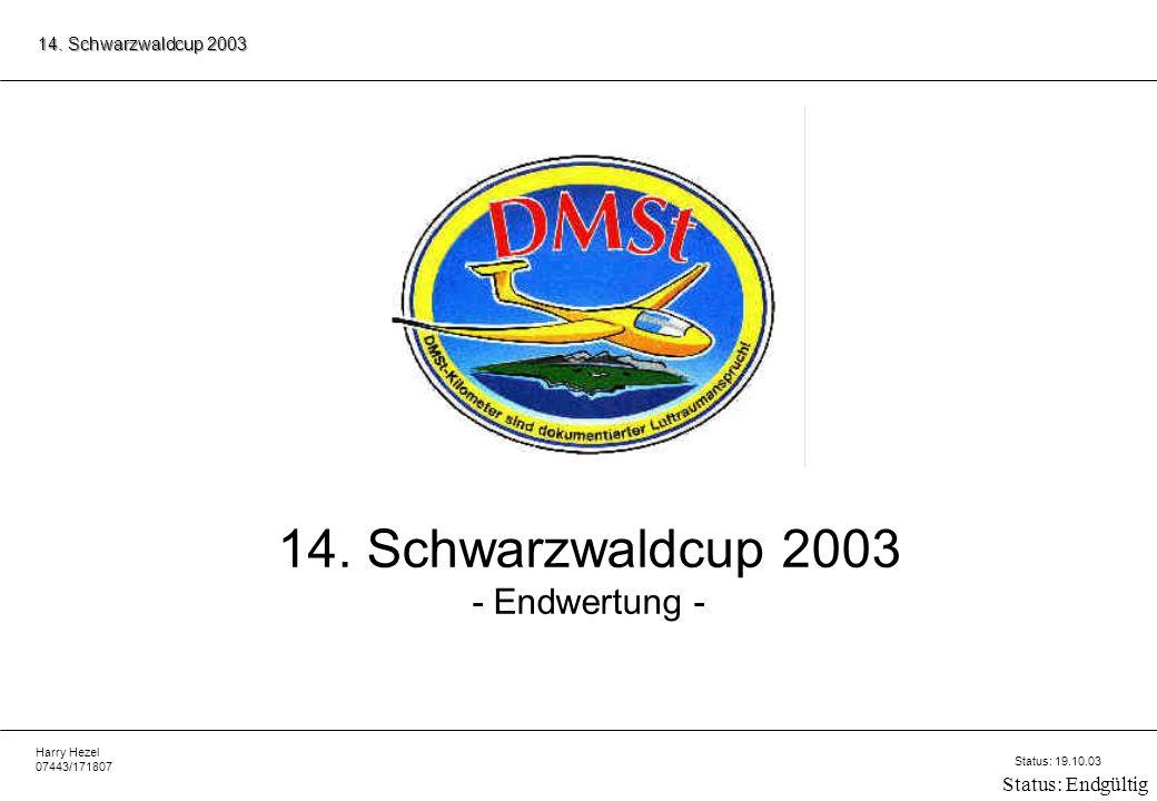 Harry Hezel 07443/171807 14.Schwarzwaldcup 2003 Status: 19.10.03 Status: Endgültig 14.