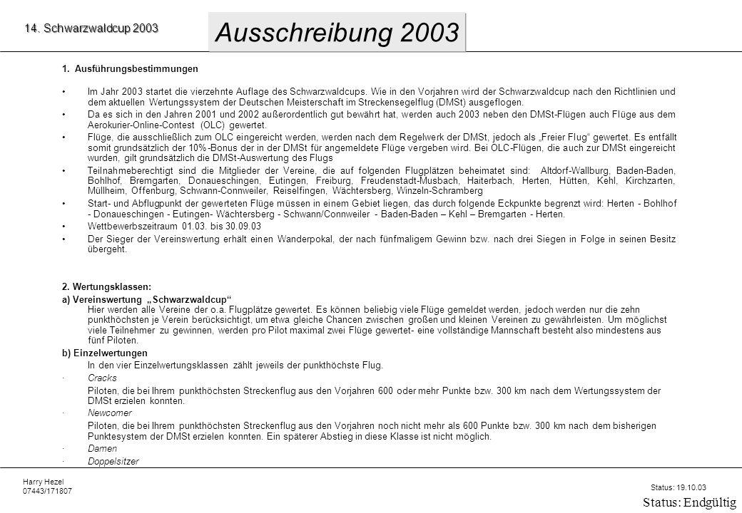 Harry Hezel 07443/171807 14. Schwarzwaldcup 2003 Status: 19.10.03 Status: Endgültig 1.