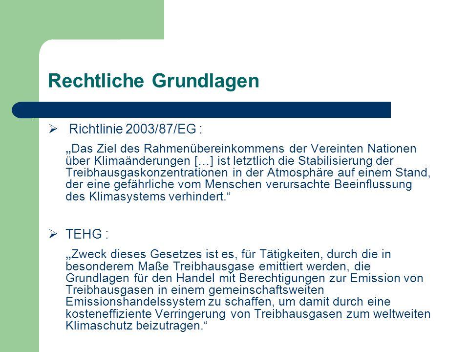 Rechtliche Grundlagen Richtlinie 2003/87/EG : Das Ziel des Rahmenübereinkommens der Vereinten Nationen über Klimaänderungen […] ist letztlich die Stab