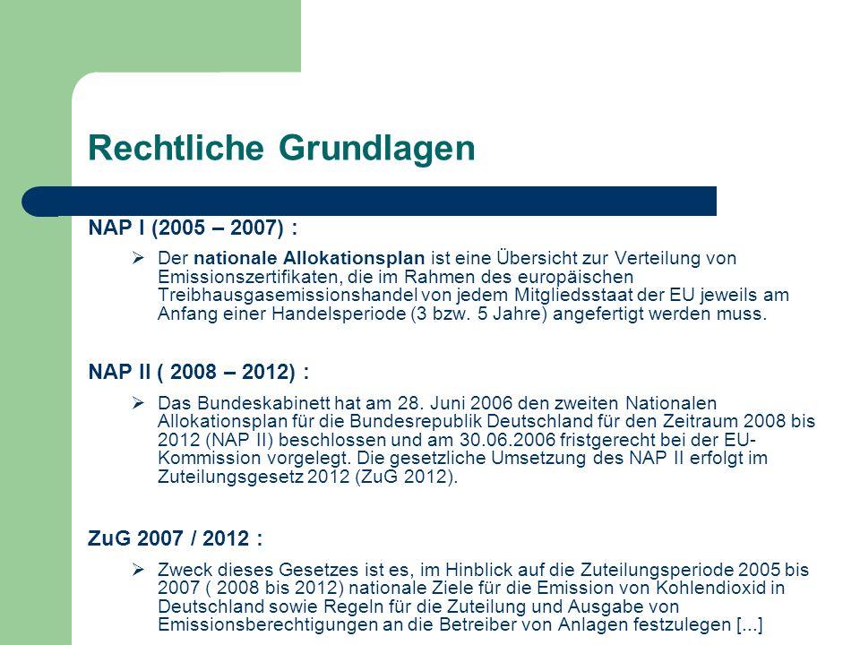 Rechtliche Grundlagen NAP I (2005 – 2007) : Der nationale Allokationsplan ist eine Übersicht zur Verteilung von Emissionszertifikaten, die im Rahmen d