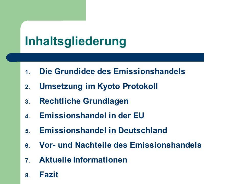 Inhaltsgliederung 1. Die Grundidee des Emissionshandels 2. Umsetzung im Kyoto Protokoll 3. Rechtliche Grundlagen 4. Emissionshandel in der EU 5. Emiss