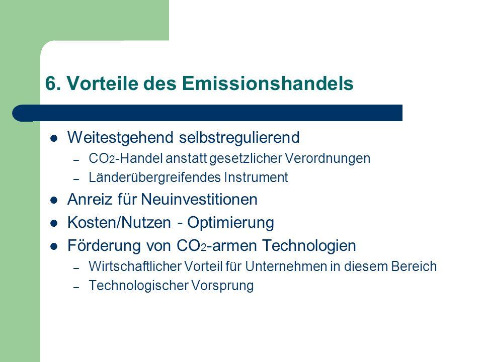 6. Vorteile des Emissionshandels Weitestgehend selbstregulierend – CO 2 -Handel anstatt gesetzlicher Verordnungen – Länderübergreifendes Instrument An
