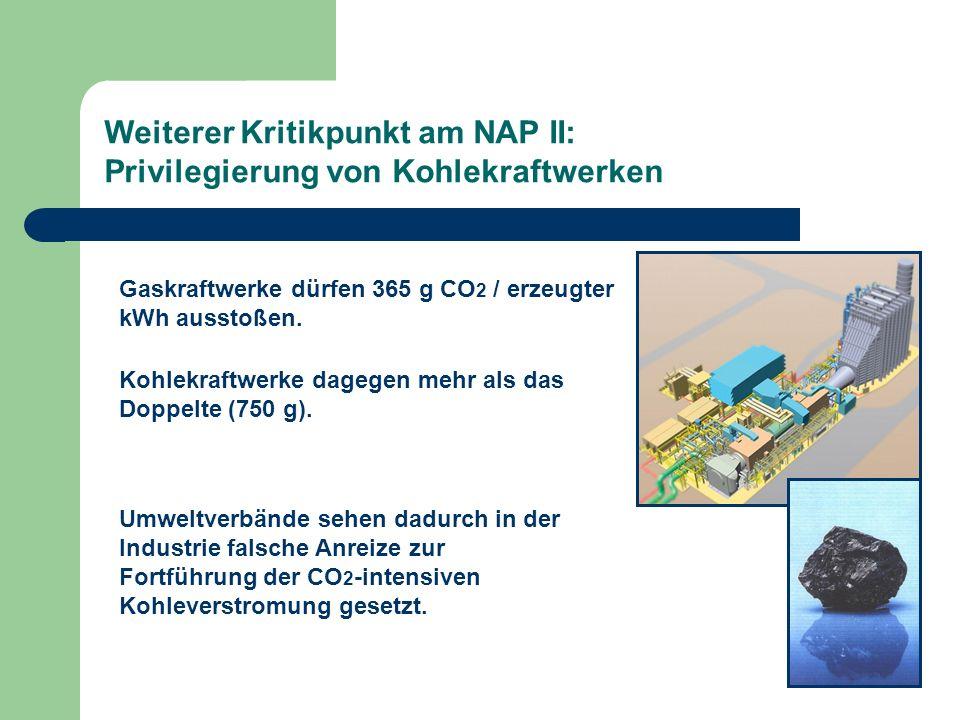 Weiterer Kritikpunkt am NAP II: Privilegierung von Kohlekraftwerken Gaskraftwerke dürfen 365 g CO 2 / erzeugter kWh ausstoßen. Kohlekraftwerke dagegen
