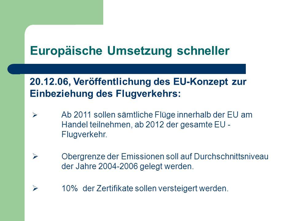 Europäische Umsetzung schneller Ab 2011 sollen sämtliche Flüge innerhalb der EU am Handel teilnehmen, ab 2012 der gesamte EU - Flugverkehr. Obergrenze