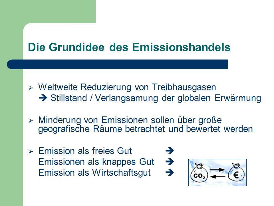 Die Grundidee des Emissionshandels Weltweite Reduzierung von Treibhausgasen Stillstand / Verlangsamung der globalen Erwärmung Minderung von Emissionen