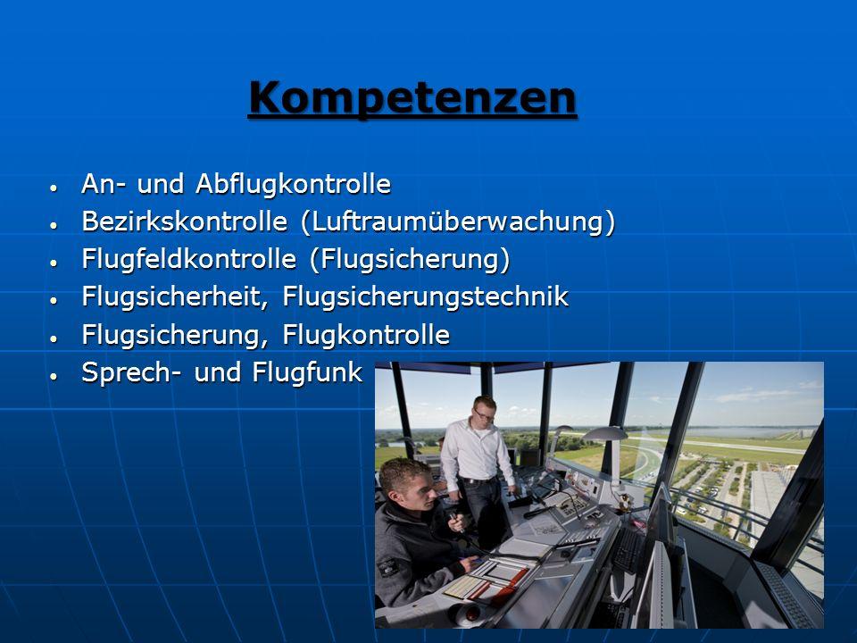 Kompetenzen Kompetenzen An- und Abflugkontrolle An- und Abflugkontrolle Bezirkskontrolle (Luftraumüberwachung) Bezirkskontrolle (Luftraumüberwachung)