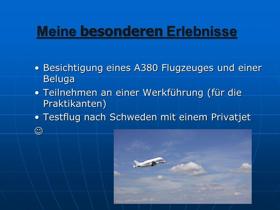 Meine besonderen Erlebnisse Besichtigung eines A380 Flugzeuges und einer Beluga Teilnehmen an einer Werkführung (für die Praktikanten) Testflug nach S