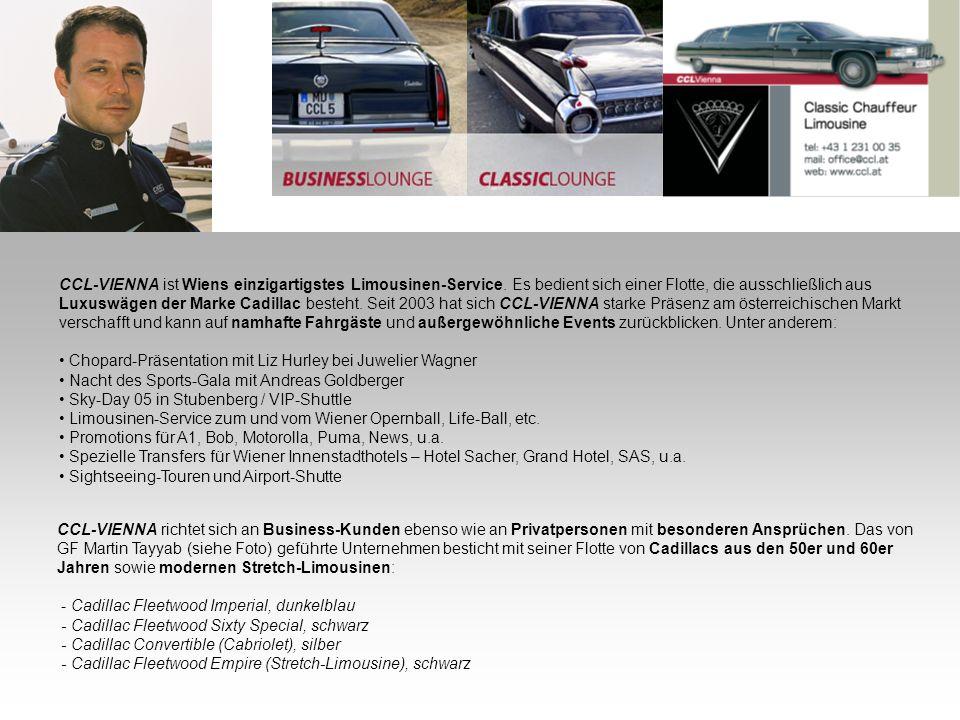 CCL-VIENNA ist Wiens einzigartigstes Limousinen-Service. Es bedient sich einer Flotte, die ausschließlich aus Luxuswägen der Marke Cadillac besteht. S