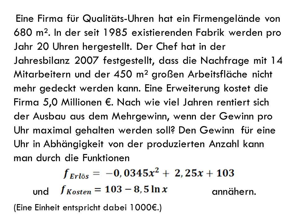 Eine Firma für Qualitäts-Uhren hat ein Firmengelände von 680 m². In der seit 1985 existierenden Fabrik werden pro Jahr 20 Uhren hergestellt. Der Chef