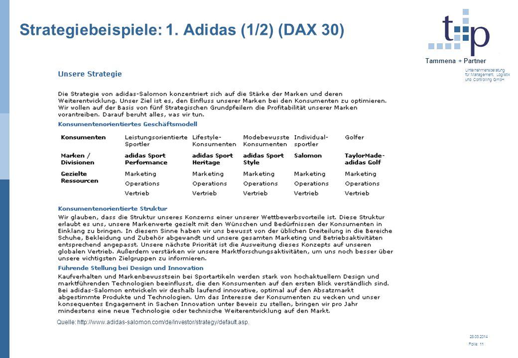 28.03.2014 Folie: 11 Tammena + Partner Unternehmensberatung für Management, Logistik und Controlling GmbH Strategiebeispiele: 1. Adidas (1/2) (DAX 30)