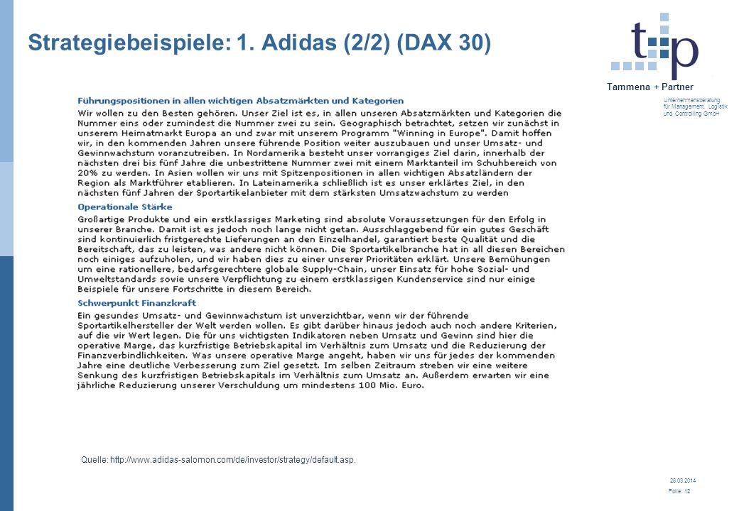 28.03.2014 Folie: 12 Tammena + Partner Unternehmensberatung für Management, Logistik und Controlling GmbH Strategiebeispiele: 1. Adidas (2/2) (DAX 30)
