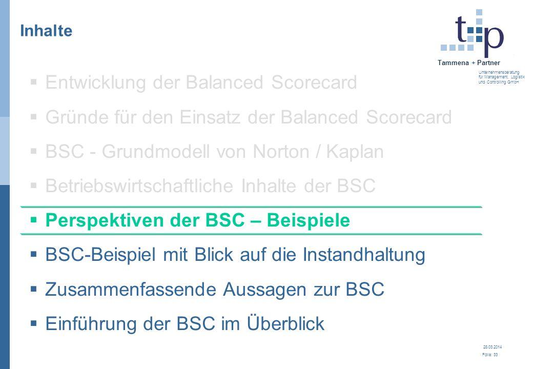 28.03.2014 Folie: 33 Tammena + Partner Unternehmensberatung für Management, Logistik und Controlling GmbH 3. BSC - Grundlagen Inhalte Entwicklung der