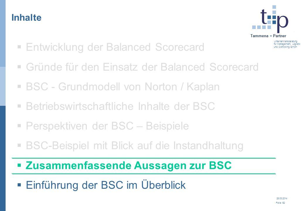 28.03.2014 Folie: 52 Tammena + Partner Unternehmensberatung für Management, Logistik und Controlling GmbH 3. BSC - Grundlagen Inhalte Entwicklung der