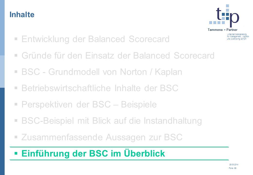 28.03.2014 Folie: 55 Tammena + Partner Unternehmensberatung für Management, Logistik und Controlling GmbH 3. BSC - Grundlagen Inhalte Entwicklung der