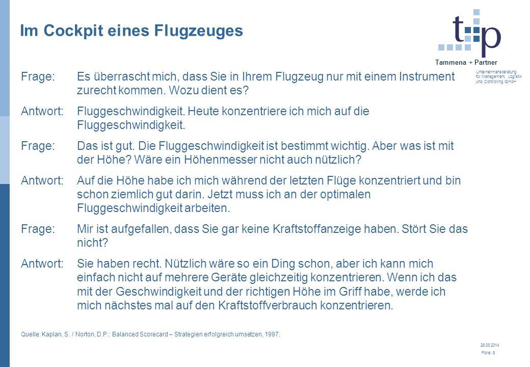 28.03.2014 Folie: 8 Tammena + Partner Unternehmensberatung für Management, Logistik und Controlling GmbH Frage:Es überrascht mich, dass Sie in Ihrem F