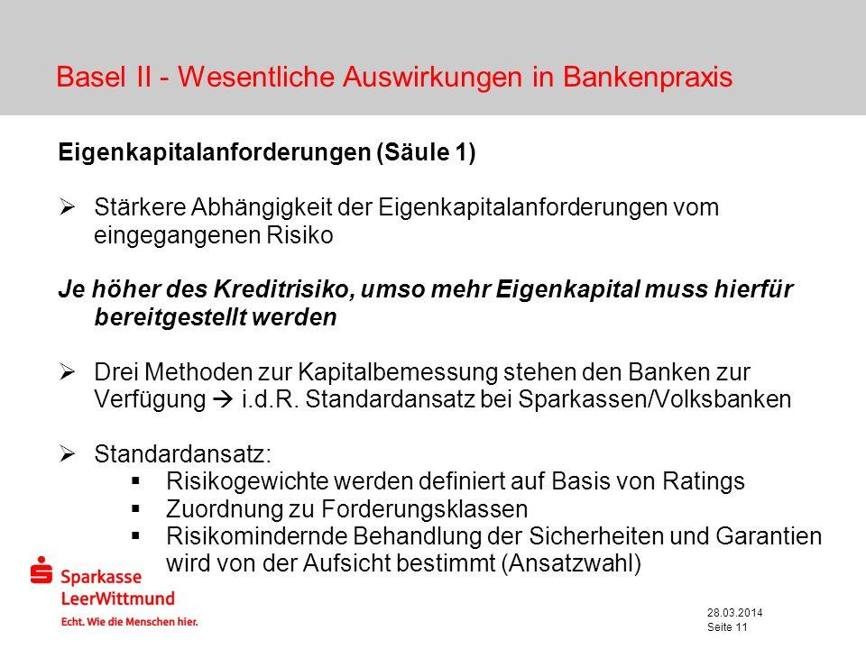 28.03.2014 Seite 11 Basel II - Wesentliche Auswirkungen in Bankenpraxis Eigenkapitalanforderungen (Säule 1) Stärkere Abhängigkeit der Eigenkapitalanfo