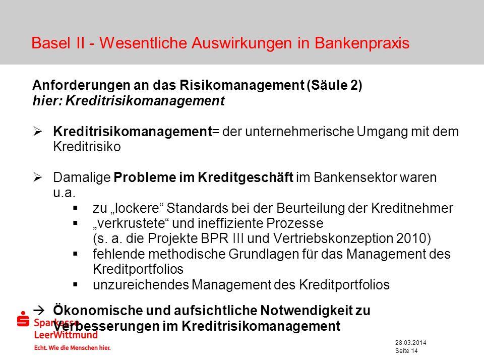 28.03.2014 Seite 14 Basel II - Wesentliche Auswirkungen in Bankenpraxis Anforderungen an das Risikomanagement (Säule 2) hier: Kreditrisikomanagement K