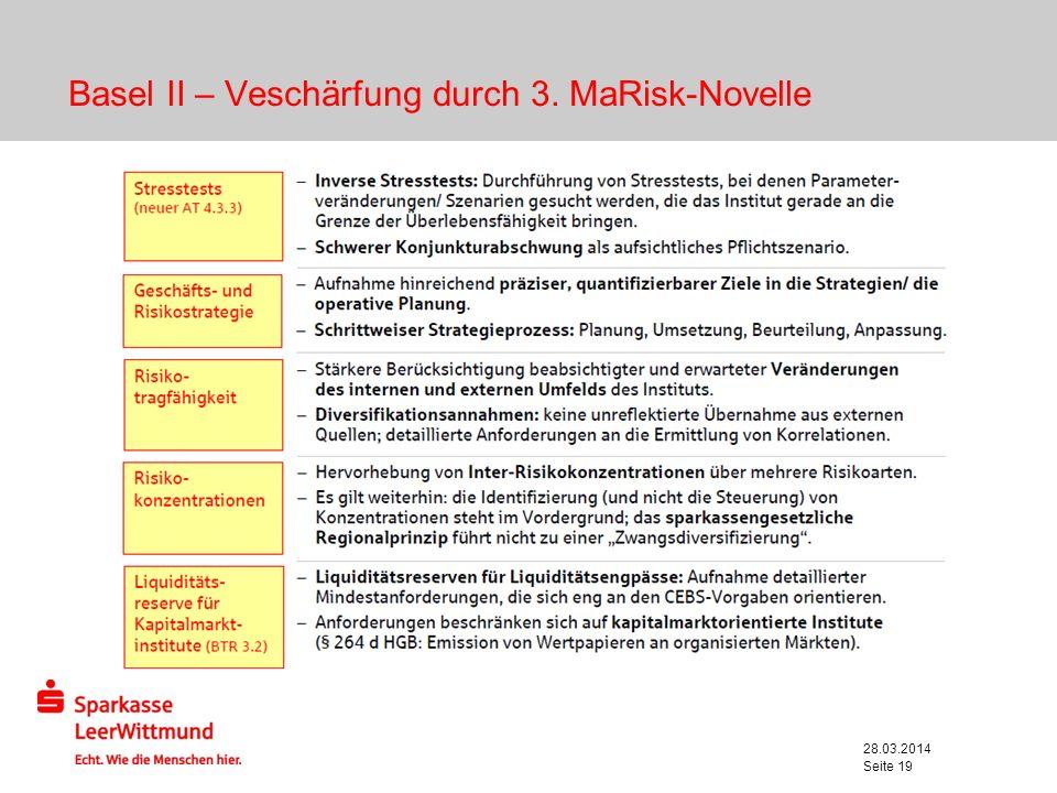 28.03.2014 Seite 19 Basel II – Veschärfung durch 3. MaRisk-Novelle
