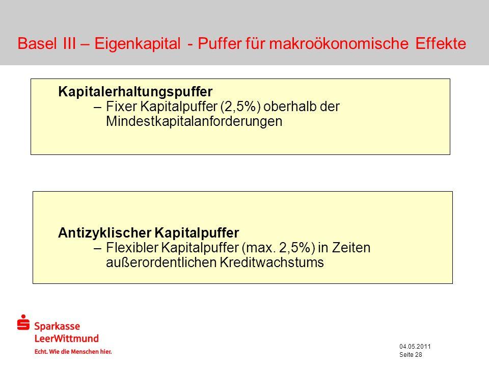 04.05.2011 Seite 28 Basel III – Eigenkapital - Puffer für makroökonomische Effekte Kapitalerhaltungspuffer –Fixer Kapitalpuffer (2,5%) oberhalb der Mi